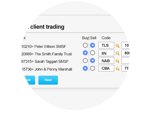 Multi client trading